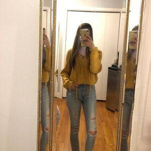 Kendall and Kylie Mustard Tie Sweater